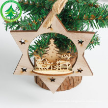 1Pcs Wooden Star Christmas tree decoration Pendants Ornaments for Christmas decoration Ornament New Year Kids Gift