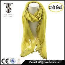 2015 fashionable soft blend Rayon slub scarf with lace tassel