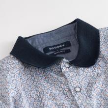 Camisa elástica de algodón de manga corta con cuello de punto para hombre