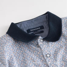 Мужская хлопковая эластичная рубашка с трикотажным воротником и коротким рукавом