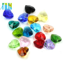 Moda grande facetada pingente de coração de cristal para fazer jóias