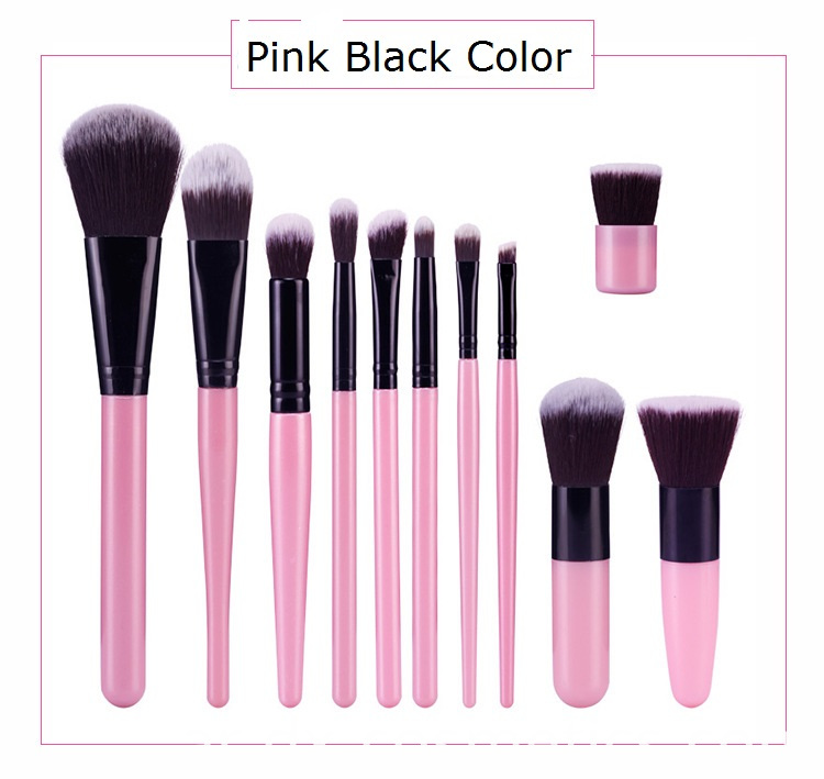 Pink Black Makeup Brush Set Color