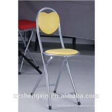 Cadeira de baralho de metal dobrável, cadeira de apoio para costas de lazer Amarelo