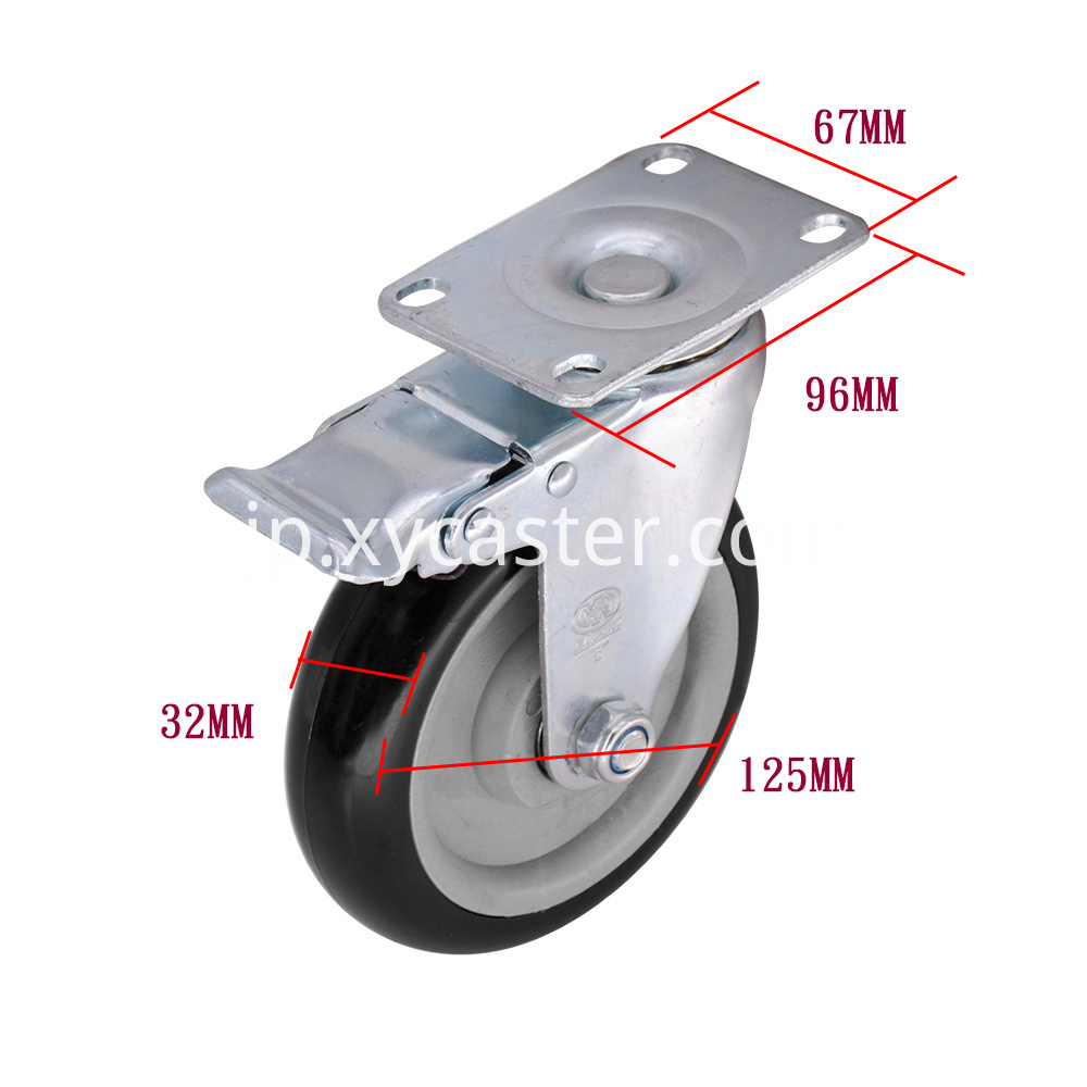 5 Inch Black Pvc Caster With Brake