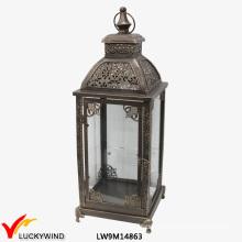 Glass Metal Iron Antique Moroccan Lantern