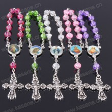 Bunte mattierte Glasperlen katholischen Gebet Perlen Rosenkranz Armband
