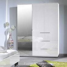 Armário com acabamento de alto brilho branco de 3 portas com espelho (HF-EY080195)