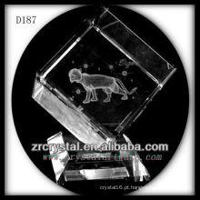 K9 Tigre de subsuperfície Laser dentro de cubo de cristal