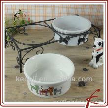 Набор из 2 керамических кормушек для животных с подставкой