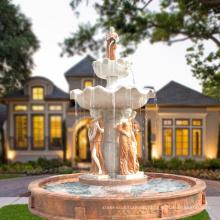Großer Garten benutzte Marmorwasserbrunnendekoration mit Statuen für Verkauf