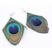 Vente en gros Bijoux Boucles d'oreilles naturelles en plumes de paon FEA08