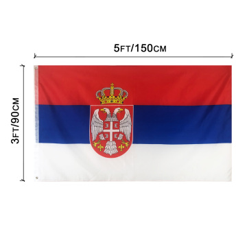 3 * 5ft Polyester Serbien Flagge mit Messing Ösen Banner