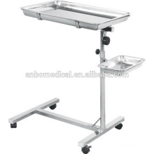 stainless steel surgical mayo table with two trays