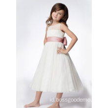 Leher Bulat A-line Tea-length Organza Ruffled Layers Flower Girl Dresses