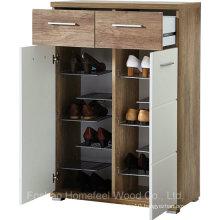 2 Door White Gloss and Oak Shoe Cabinet Organizer (HF-EY08199)