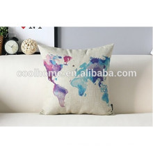 45X45cm Colorful World Map Patterned Cushion Linen Pillow Case Home Decor Cushion Cover