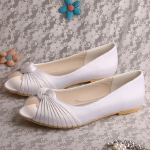 White Bridesmaid Flat Shoes Peep Toe