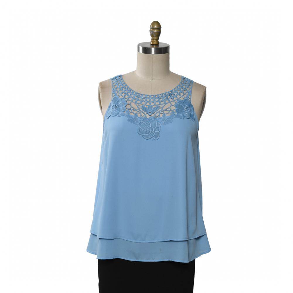 Woven Tops Vest Lace Neck Trim