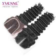 Deep Wave Brazilian Hair Middle Part Lace Top Closure