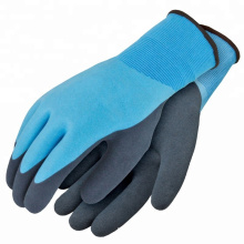 Water Liquid Proof Latex Double Coated Nylon Seamless Knit Gloves with Sandy and Foam Finish