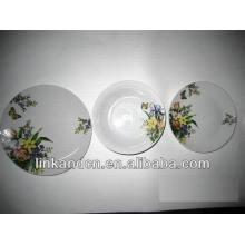 Haonai 12pcs white fancy artwork decal dinner plate sets