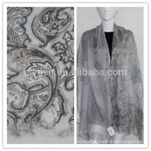 Seda con lana de estampado de lana bufanda