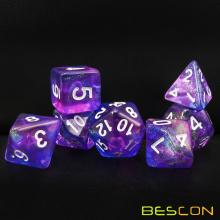 Bescon  New Moonstone Dice Orchid, Polyhedral Dice Set of 7