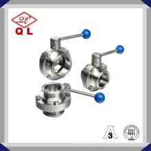 304/316L Sanitary Stainless Steel Weld Threated Clamped Butterfly Valve
