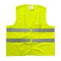 Malla amarilla fluorescente y chaleco de seguridad reflectante sólido con bolsillo de PVC