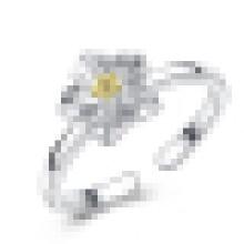 Bague d'ouverture en forme de chrysanthème en argent sterling 925 pour fille
