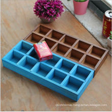 Customize logo 10 cells colorful decorative wooden christmas ornament storage box