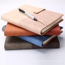 Logo Debossed Personalized Velvet Cover A5 Leather School Journal Custom Printing Notebook with Pen