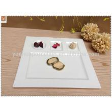 Placa de porcelana barata bandeja de 3 compartimentos para alimentos
