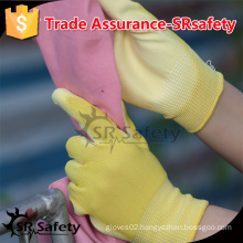 SRSAFETY 13gauge polyester liner coated thin PU on palm for safety working gloves.