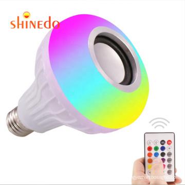 1LED Wireless Light Bulb Speaker, RGB Smart Music Bulb E27 Remote Control 12W LED Bulb