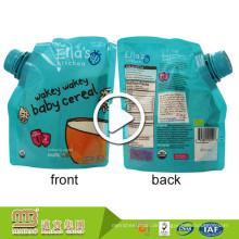 Wiederverwendbare Stand Up BPA frei Baby Food Paket nach Maß Löffel Spout Beutel mit Saugstutzen