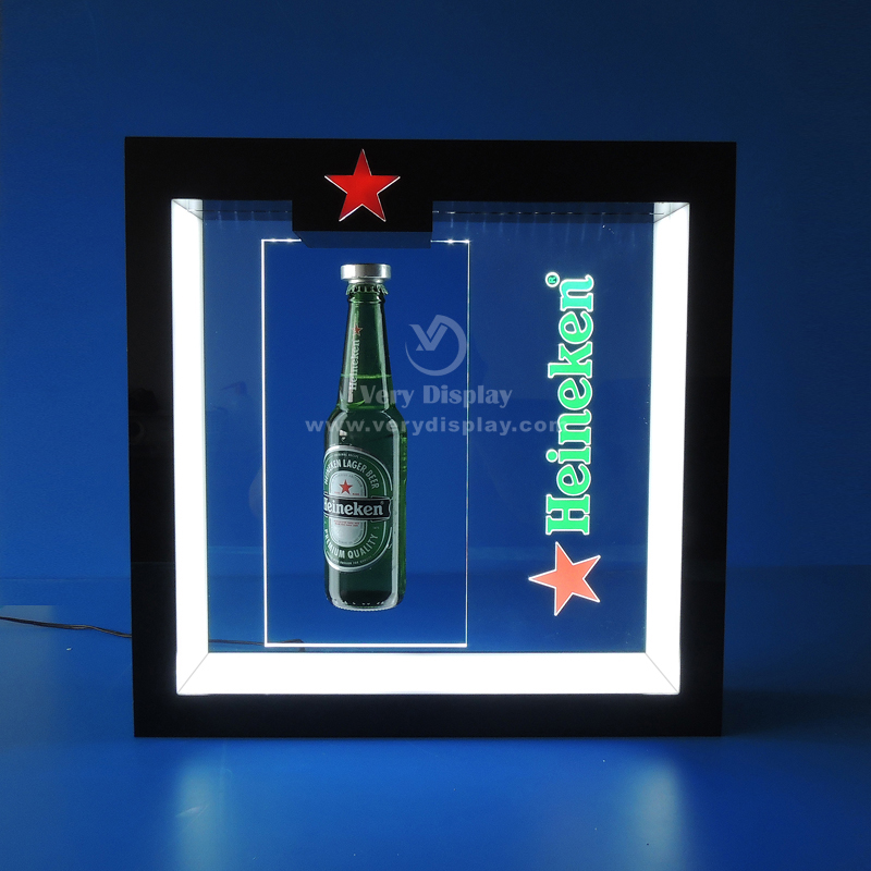 heineken bottle levitation display