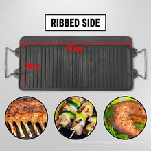 Cast Iron Reversible Griddle BBQ Grill Plate with Steel Handle