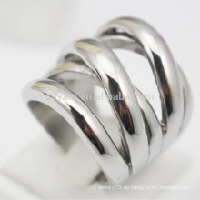 Nueva X en forma de acero inoxidable punk plata anillos para las mujeres