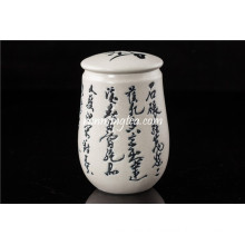 Chinese Calligraphy Porcelain Tea Canister