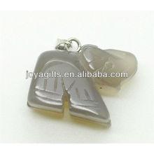 Alta qualidade Natural cinza ágata pingente de elefante semi pingente de pedra preciosa