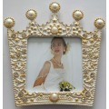 Marco de fotos pequeño blanco de forma corona