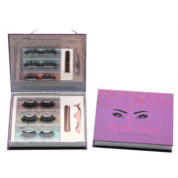 F130BH Hitomi 3d Siberian Mink Eyelashes Cheap 3d Mink Lashes Fluffy 25mm Magnetic Eyelashes with Eyeliner and tweezers