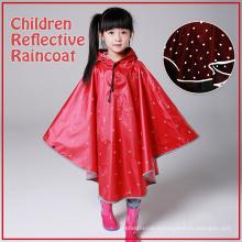 Reflective Red Black Children Safety Raincoat Poncho with dot pattern for girl boy Rainwear
