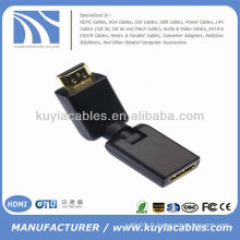 HD 360 degrés rotation pivotante HDMI mâle vers HDMI adaptateur en or réglable femelle