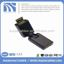 HD 360 Degree Rotation Swivel HDMI Male to HDMI Female Adjustable Gold Adapter