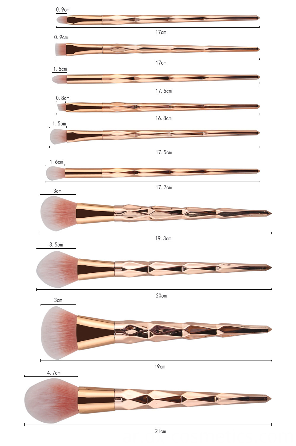 10 Pcs Diamond Rose Gold Makeup Brushes Sets 5