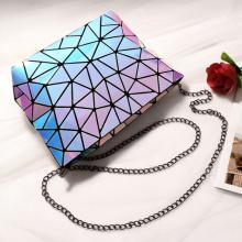 Geometric glitter holographic shopping chain shoulder bag