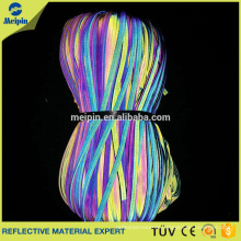 High Visibility Rainbow Elastic Reflective Piping Ribbon for Clothing and Bags
