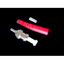 Optical Fiber Connector - ST/PC Sm - Red Boot -3.0mm